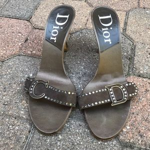 Authentic Dior Brown Satin Heels with Crystals